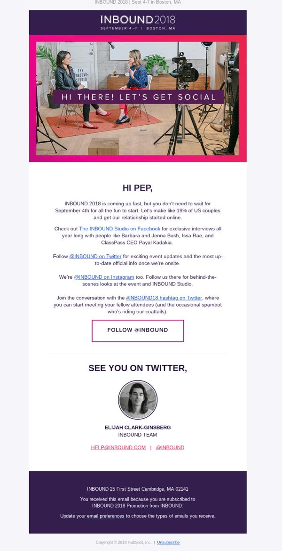 ejemplo email uso colores INBOUND 2018