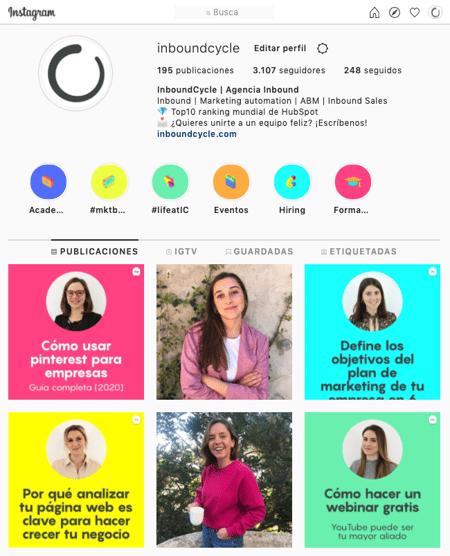 Instagram IGTV que es perfil InboundCycle