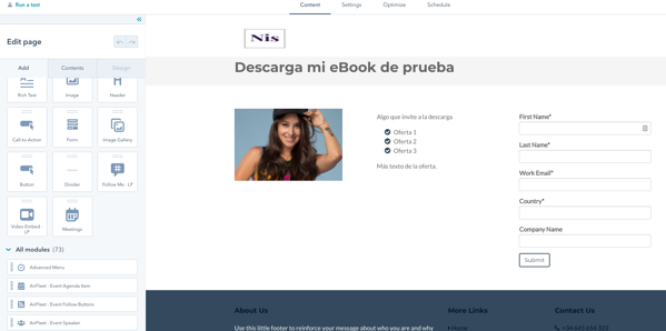 Landing pages de HubSpot modulos