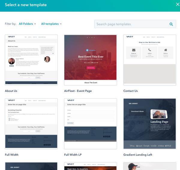 Landing pages de HubSpot templates