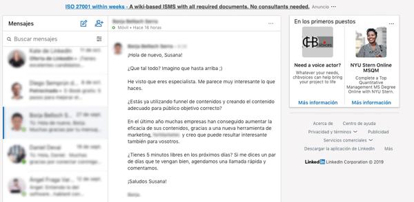 Mensaje LinkedIn 2