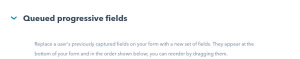 queued progressive fields formulario hubspot
