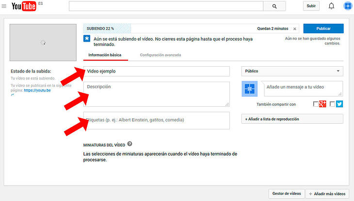 configuracion basica de video de youtube