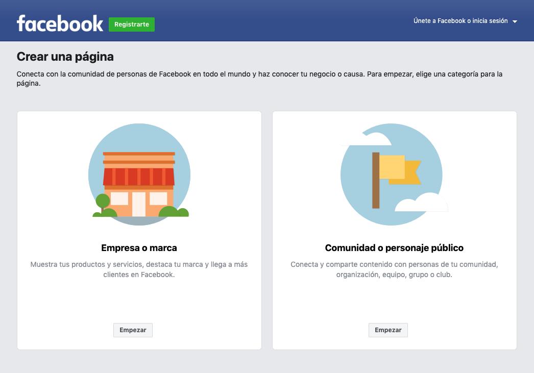 crear pagina facebook empresas paso 1