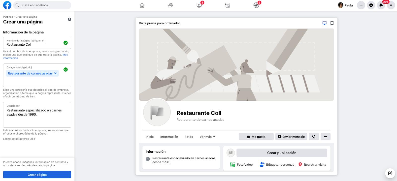 crear pagina facebook empresas paso 3