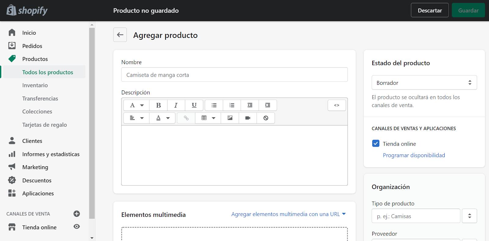 crear tienda online shopify crear producto
