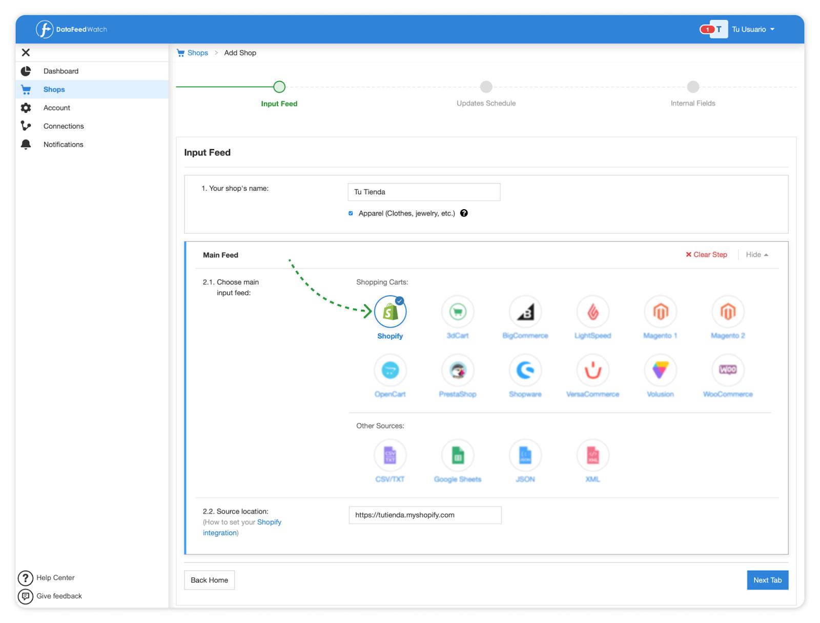 crear tienda online shopify datafeedwatch