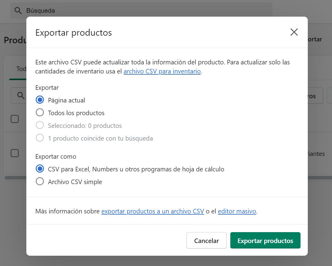 crear tienda online shopify exportar productos