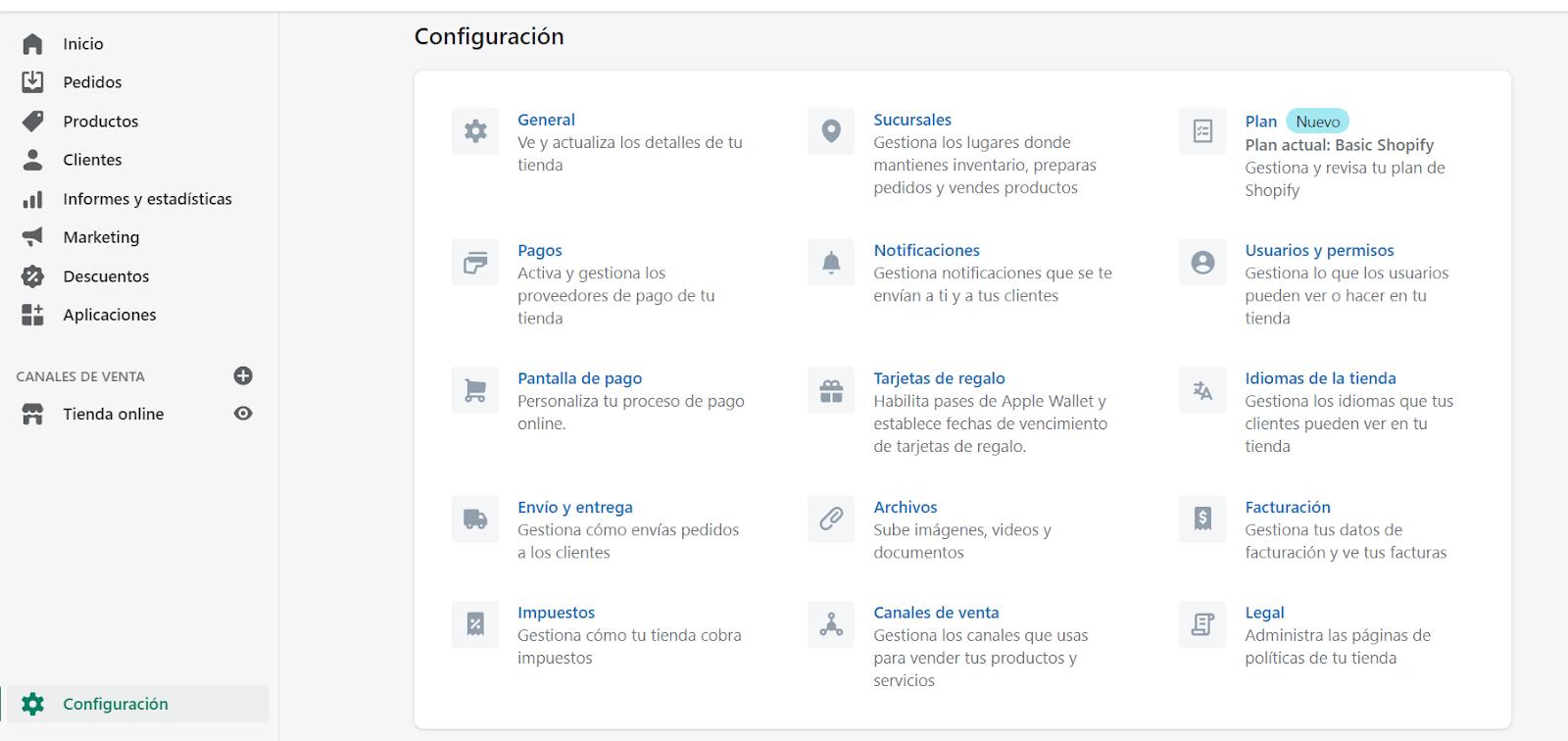 crear tienda shopify configuracion