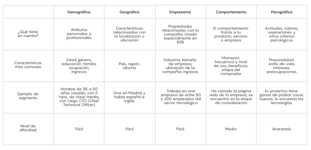 estrategias de segmentacion caracteristicas