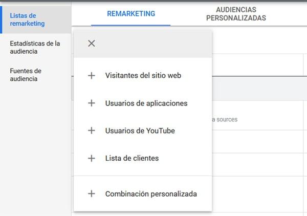 gmail ads Crear lista de clientes