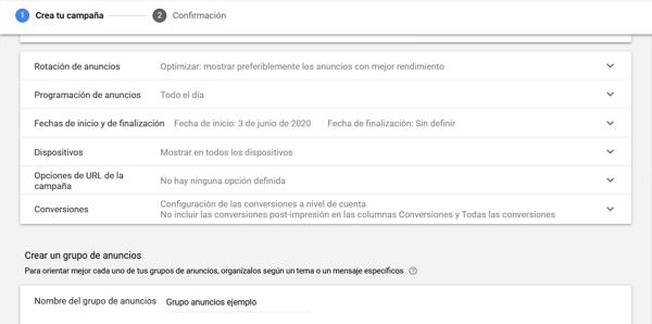 gmail ads configuracion adicional