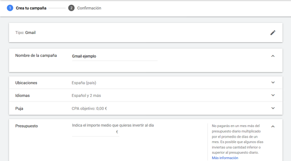 gmail ads configuracion campaña