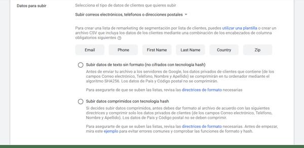 gmail ads datos lista clientes