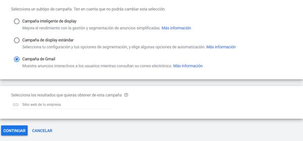 gmail ads escoger subtipo de campaña