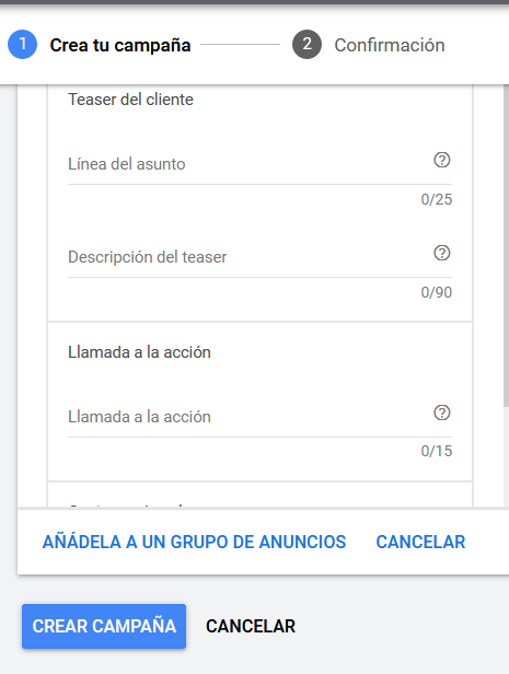 gmail ads personalizar anuncio Gmail