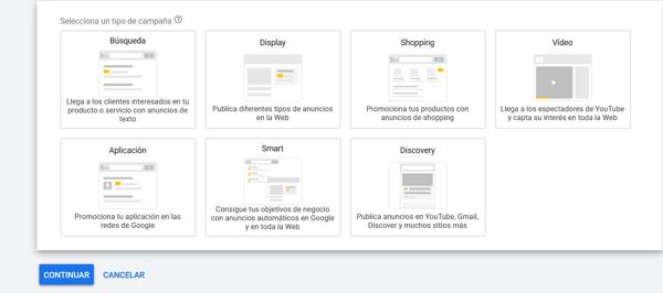 gmail ads seleccionar tipo de campaña