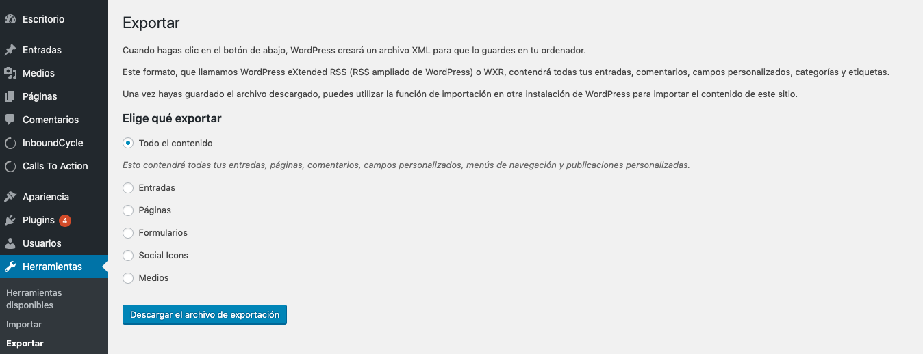 herramienta de marketing Wordpress exportar