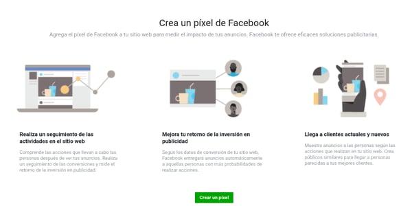 Crear un pixel de Facebook