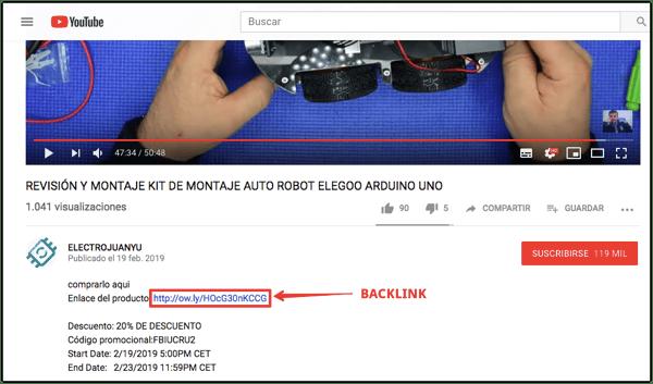 backlinks revision de productos