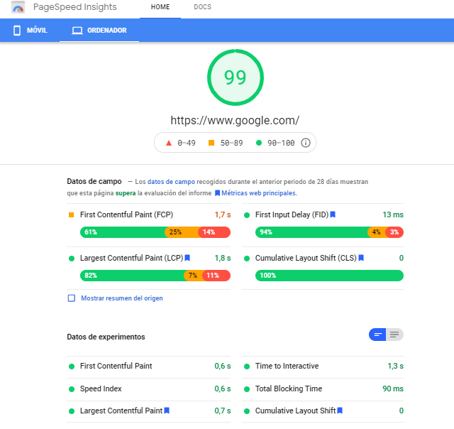core web vitales google que son page speed insights