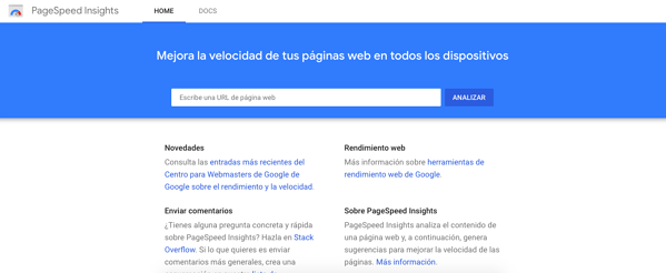posicionamiento web page speed insights