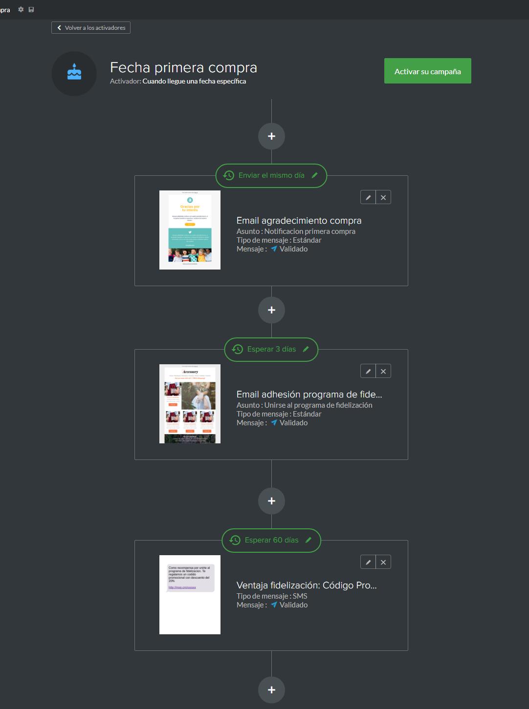 ejemplo campaña sms marketing tras primera compra