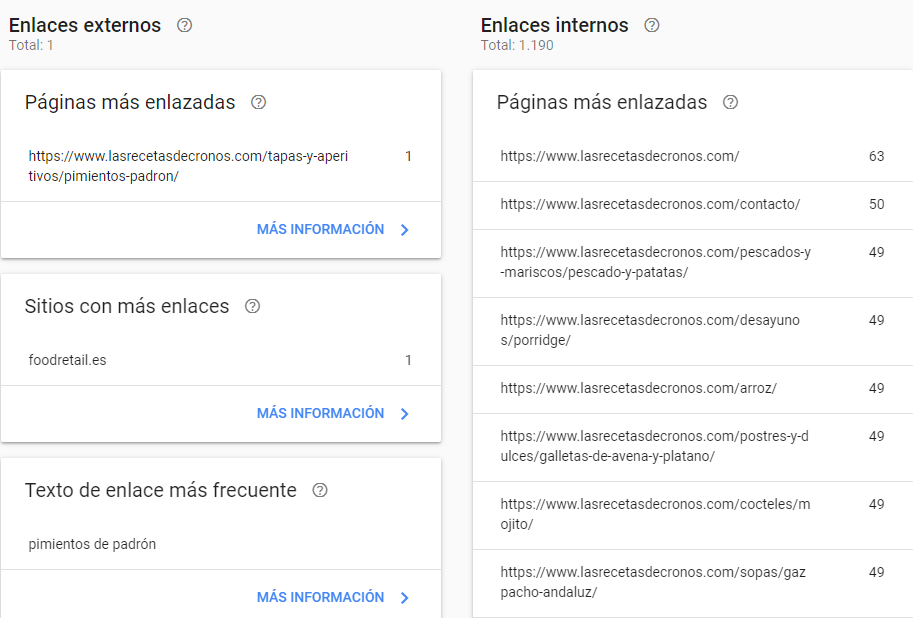 search console enlaces