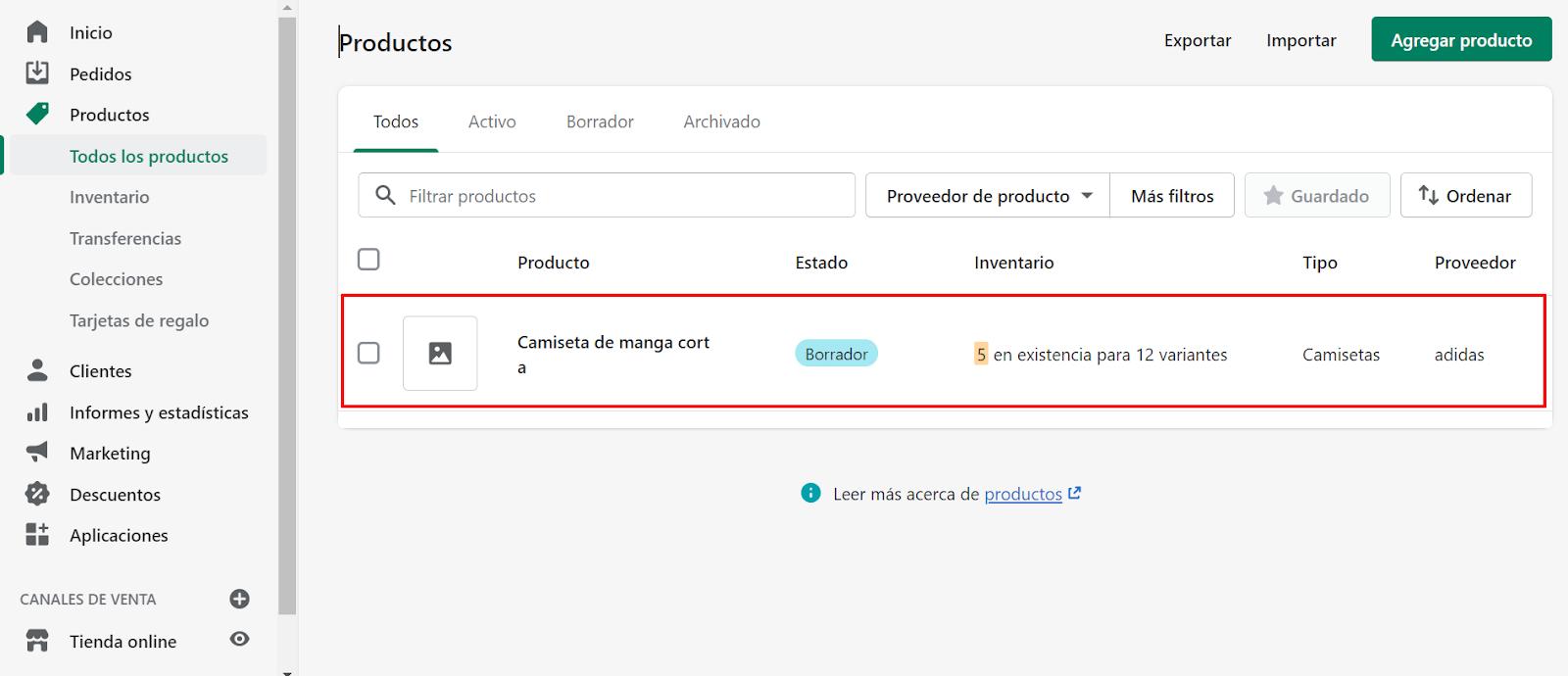 shopify crear tienda online activar producto