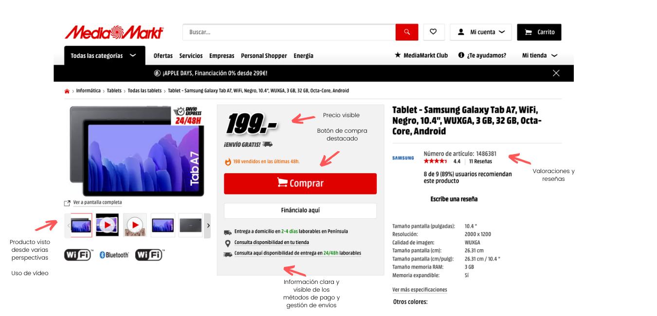 tasa de conversion ecommerce ejemplo mediamarkt