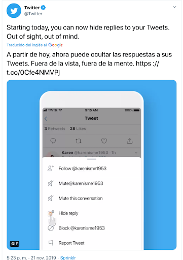 twitter para empresas hide replies
