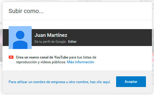 seleccion de perfil en youtube