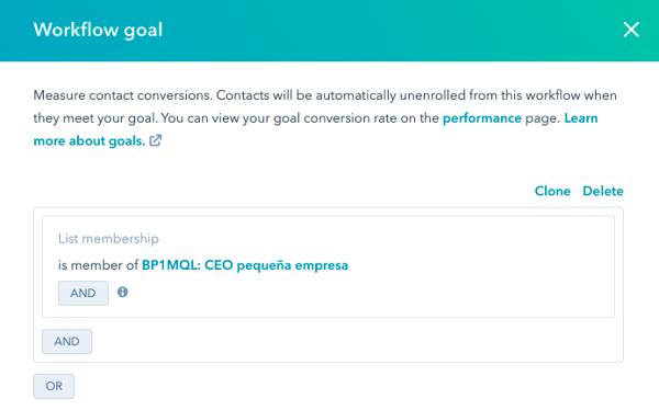 workflow hubspot ejemplo goal